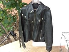 60sVintage Harley Patch Black Leather Jacket With Fringe, Global Size M