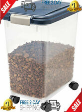 33QT Large Dog Food Storage Container Plastic Pet Cat With Locking Lid Wheels