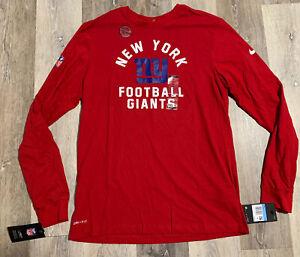 Men's Nike NFL New York Giants Dri-Fit Cotton Long Sleeve Shirt Red Medium $40