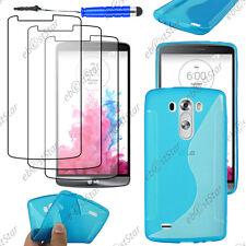 Housse Etui Coque Silicone S-line Bleu LG G3 D855 + Mini Stylet + 3 Film écran