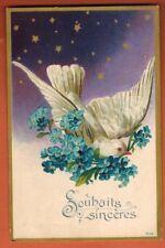 Carte Postale Gaufrée - Souhaits Sinceres-Fleurs-Colombe-Etoiles - Réf.B.77
