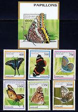 BENIN 1996 BUTTERFLIES SET SCOTT 801-06 + 807 SOUVENIR SHEET CV $13
