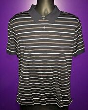 Nautica Men' M Black Polo Shirt Short Sleeve Charcoal Gray Mercerized Pima