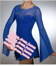 Custom Blue Figure Skating Dresses Girls Competition Ice Skating Dress