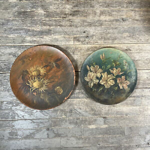 Two Watcombe Torquay Pottery Terracotta Hand Painted Floral Design Plates.