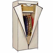 Single Canvas Wardrobe Clothes Hanging Rail Shelves Storage Shelf Cupboard Beige
