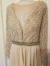 Terani Couture Gown Embellished Size 18 Champagne NWT 1812M6650