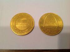 St. Louis Dedication Gateway Arch 1968 Auth Dedication Coin Gold Aluminum Uncirc