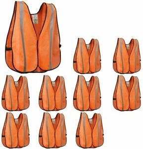 XSHIELD High Visibility Mesh Safety Vest Orange with Silver Stripe - Lot of 10