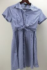 FOREVER 21 Polyester & Cotton Blend Blue & White Striped Button Down Dress - Med