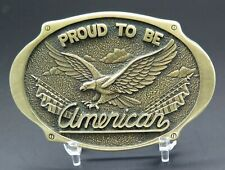 Proud To Be American Patiotic Eagle Award Design Medals Vintage Belt Buckle