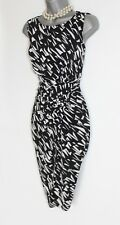 PRECIS Black White Print Jersey Cocktail Party Work Office Pencil Dress UK10 38