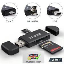 USB C/OTG SD Micro USB 2.0 3 in1 Card Reader/Writer Phones Laptop Tablets Photos