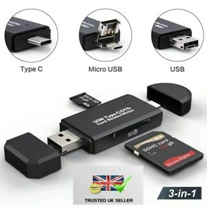 USB SD Micro USB Type C OTG 3 in1 Card Reader/Writer 2.0 Phones Laptop Tablets