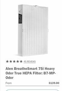 Alen BreatheSmart 75i Heavy Odor True HEPA Filter: B7-MP-Odor. New In Box!!!!!