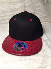 Bk Caps Faux Ostrich Skin Strap Back Hat (Dark Red)