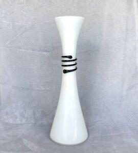VINTAGE Art Glass Vase Cases White Glass Vase with Black Glass Snake Coil