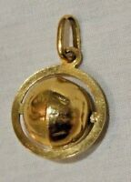 Vintage 14K Yellow Gold Spinning Globe Charm or Pendant