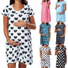 Pregnancy Maternity Short Sleeve Nursing Breastfeeding Dress Nightdress Womens