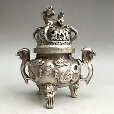 RARE OLD CHINESE TIBET SILVER CENSER HANDMADE CARVING DRAGON IMAGE