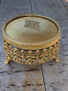 Antique Glass & Filigree Brass & Tapestry Vanity Trinket Jewelry Box Dated 1923