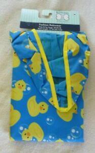 New Dog  Fashion Hooded Raincoat size Medium Blue Yellow Ducky 20-50 LBS