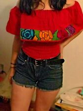 Mexican Blouse Top off shoulder Women Floral Embroidery Boho Hippie Chiapas sz S