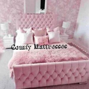 Plush Pink Velvet Chesterfield Sleigh Bed Frame Available In All Sizes