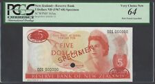 New Zealand Five Dollars ND(1967-68) P165as Specimen TDLR Uncirculated