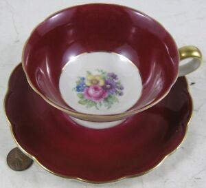 Vintage Cup & Saucer Flowers & Burgundy Royal Bayreuth US Zone Germany