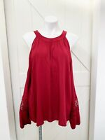 NWT Express Red Long Sleeve Lace Detail Cold Shoulder Blouse Top Size Medium