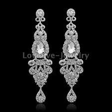 Luxury Diamante Crystal Rhinestone Chandelier Long Earrings Women Wedding Prom