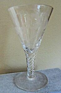 Vintage Signed Stuart, England, Air Twist Stem , Engraved Thistle & Rose Wine,