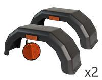 """2 x 10"""" Inch Black Plastic Mudguards Arch Wheel Trailer Van Caravan + Reflector"""