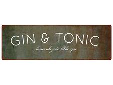 METALLSCHILD Türschild GIN & TONIC Bar Dekoschild Shabby Spruch Vintage Geschenk