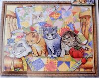 NIP Rocking Chair Kittens Counted Cross Stitch 4 Kittens Patchwork Design Works