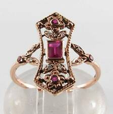 DIVINE 9CT ROSE GOLD RUBY & DIAMOND LONG ART DECO INS RING FREE RESIZE