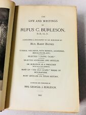 1901 LIFE AND WRITINGS RUFUS BURLESON Texas Baylor Texana Religion Baptist RARE