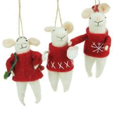 Gisela Graham Set of 3 Red White Wool Mice Christmas Decorations Tree Ornaments