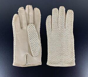 Genuine Leather Vintage Cabriolet Gloves Convertible Beige Cream