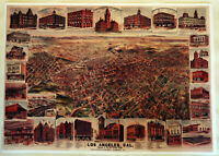 Hi-Q XL-Format Elliot's 1891 Bird's-Eye Los Angeles Facsimile Map Poster 36x51