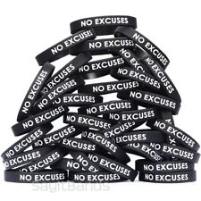 100 No Excuses Wristbands - Debossed Color Filled Silicone Bracelet Bands