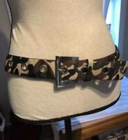Unisex Camouflage Adjustable Belt With Silvertone Buckle 43 Inches Long