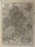 1849 HESSE GERMANY ANTIQUE HAND COLOURED MAP BY JOSEPH MEYER