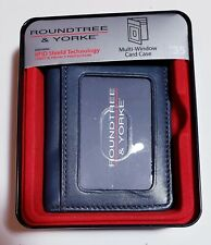 Men's Leather Wallet Roundtree & Yorke RFID Protected navy New in Gift Box