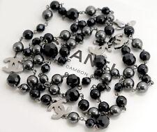 CHANEL CC Logos Necklace Black Stone 45 inch long 08V