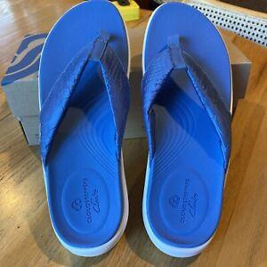 Clarks Women's Lola Point Cloudsteppers Flip-Flop, Blue Textile, 9- EU 40 NIB