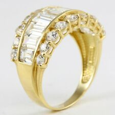 14k Yellow Gold Round Baguette CZ Wide Band Fashion Ring Size 8