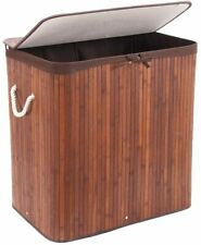 Folding Bamboo Laundry Basket with Lid Removable Bag Dirty Clothes Storage