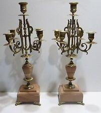 Paire de CHANDELIERS Anciens en Marbre rose, Bronze et Laiton XIXe Napoléon III